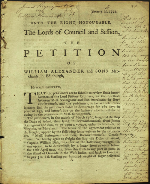 Petition of William Alexander