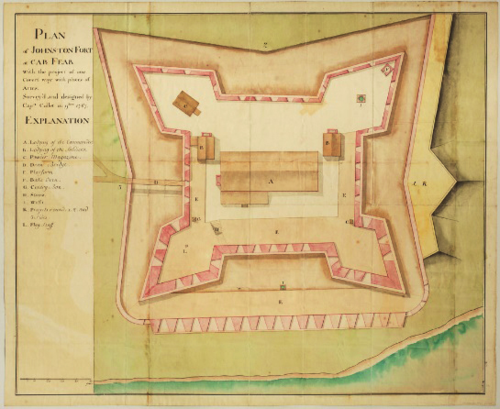 Plan of Johnston Fort at Cape Fear