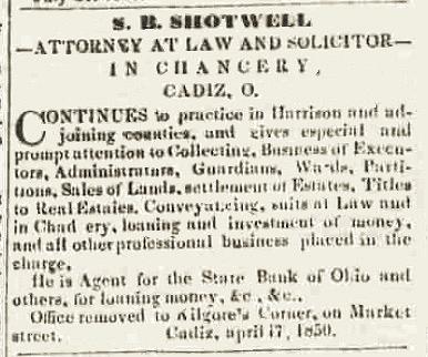 Cadiz-Sentinel 11-27-1850 excerpt
